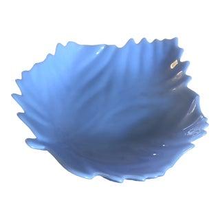 Blue Milk Glass Leaf Bowl For Sale