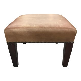 George Smith Leather Baby Signature Stool With Brass Tacks