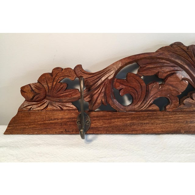 Antique Hand Carved Wall Coat Rack - Image 2 of 8