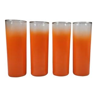 Mid-Century Modern Orange Ombre Tom Collins Glasses - Set of 4 For Sale