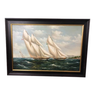 Realist Painting of Sailing Vessels by Cooper For Sale