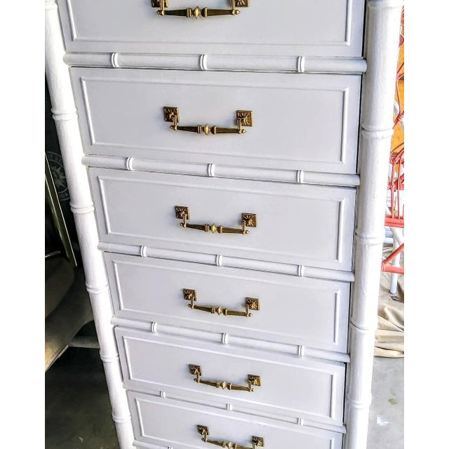 1970s Vintage Henry Link Bali Hai Palm Beach Regency White High Gloss Tall Lingere Dresser Chest For Sale - Image 5 of 9