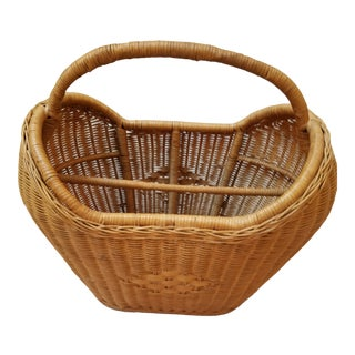 1960s Natural Wicker Magazine Basket For Sale