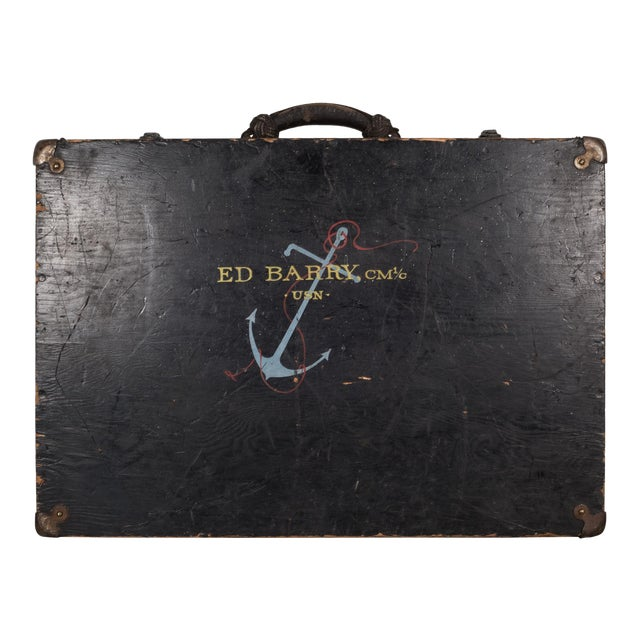 Hand Painted United States Navy Construction Mechanic Tool Box C.1940 For Sale