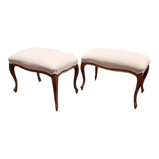 Antique Louis XV Style Walnut Benches Footstools Upholstered in Off-White Linen Fabric, a Pair For Sale