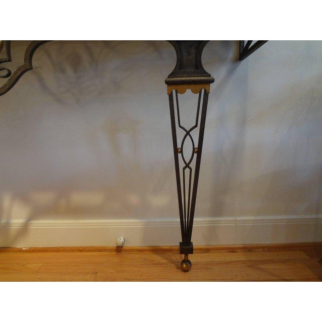 French Neoclassical Gilbert Poillerat Style Wrought Iron Console Table For Sale In Houston - Image 6 of 10