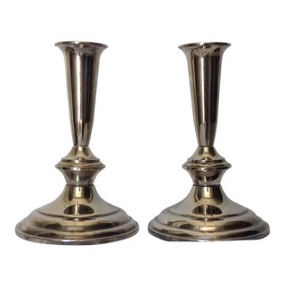 Silver Plate Gorham Candle Holders - a Pair For Sale