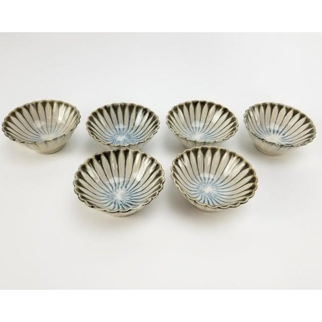 Vintage Japanese Soy Sauce Bowls - Bone China Hand Made Drip Glaze Set of (6) Bowl For Sale - Image 4 of 10