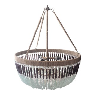 Ro Sham Beaux Chandelier with Sea Glass Beads & Aubergine Glass For Sale