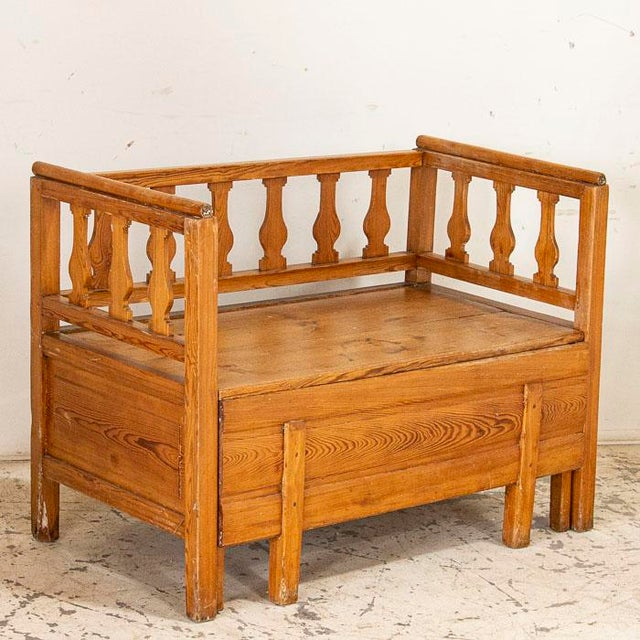 Wood Mid 19th Century Antique Pine Bench With Storage, Sweden For Sale - Image 7 of 7
