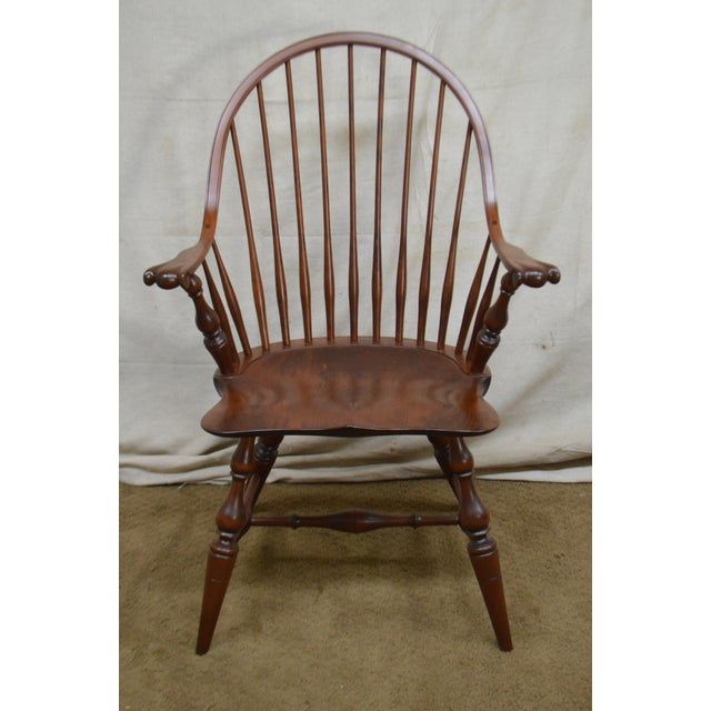 Custom Quality Pair of Solid Cherry Windsor Armchairs For Sale - Image 11 of 13