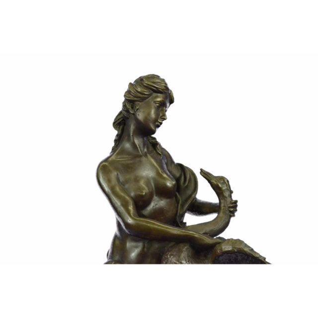 Nude Woman and Swan Statue on Marble Base Sculpture - Image 8 of 9