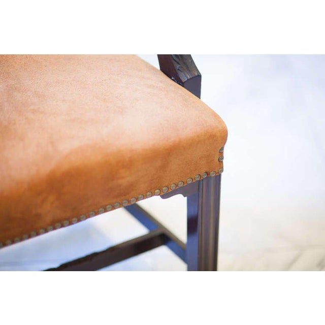 Pair of 19th century mahogany frame Elbow chairs with ladder back, pierced rails and H-strecthers. Th rear uprights...