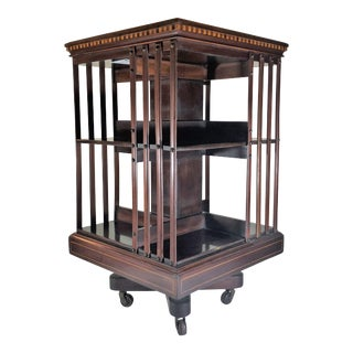 Antique English 19th Century Mahogany and Satinwood Inlay Bookstand.