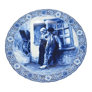 Mid 20th Century Royal Delft De Porceleyne Fles Blue and White Bloomers Charger Plate Plaque For Sale