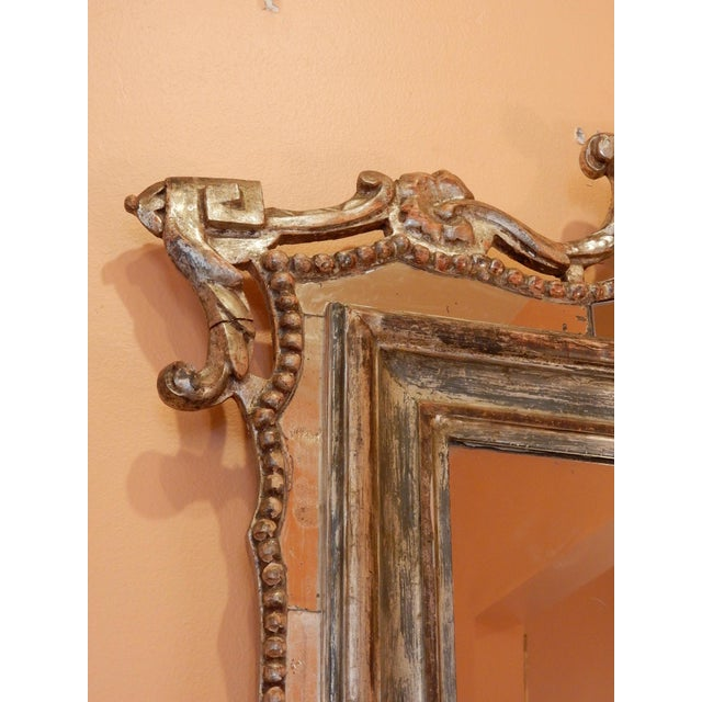 Traditional Directoire' Worn Silver Gilt Mirror For Sale - Image 3 of 10