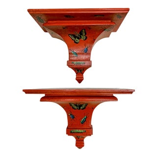 Pair of Tole Painted Wall Brackets W/ Insect Motif For Sale