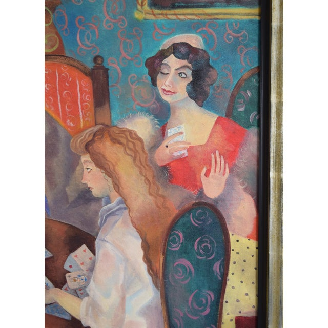 Early 21st Century Olga Oreshnikov Oil Painting Flirtation While Playing Cards Russian Israeli Artist For Sale - Image 5 of 9