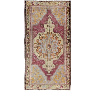 Purple and L.Blue Vintage Turkish Oushak Rug With Layered Geometric Medallion For Sale