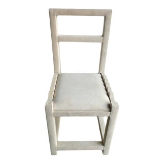 Sculptural Post Modern High Back Faux Suede Accent Chair For Sale