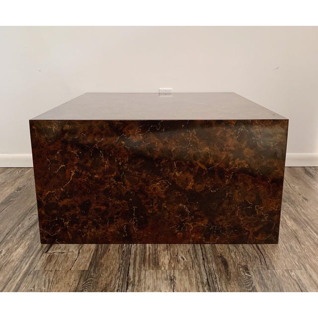 Vintage Milo Baughman style faux stone cube coffee table, circa 1970's in excellent condition. Reasonable offer will be...