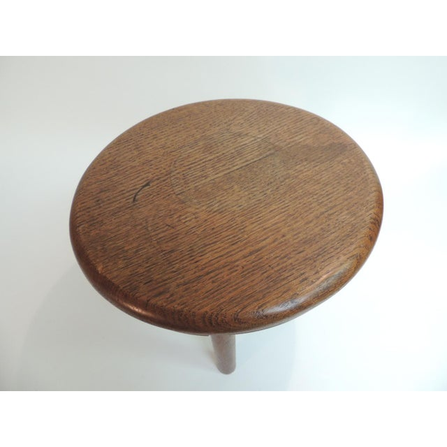 Vintage Round Mid-Century Modern Low Stool or Table Mid-century modern honey color stained, three leg low telephone table...