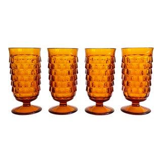 Vintage Amber Tall Glasses - Set of 4 For Sale
