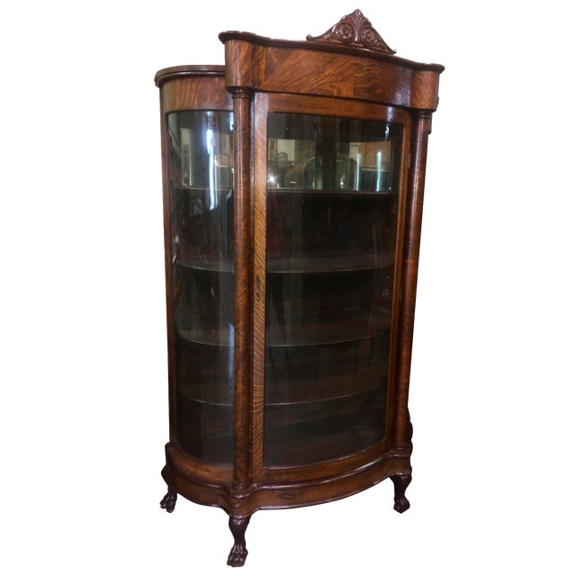 Antique Curved Glass Oak China Cabinet - Antique Curved Glass Oak China Cabinet Chairish