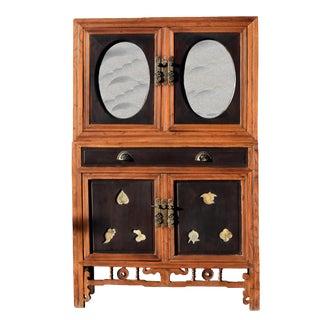 Antique Mirrored Scholar's Storage Cabinet For Sale
