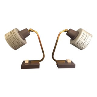 Mid-Century Bedside Table Lamps - A Pair