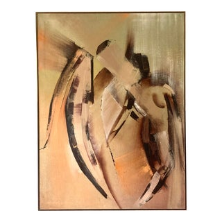 Mid 20th Century Modernist Abstract Figurative Nude Oil Painting, Framed For Sale