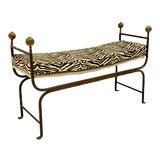 Image of 19th-C. Italian Campaign Style Bench in Zebra Velvet For Sale