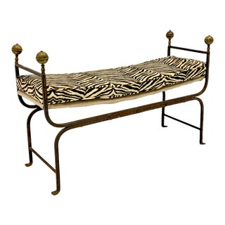 19th-C. Italian Campaign Style Bench in Zebra Velvet For Sale
