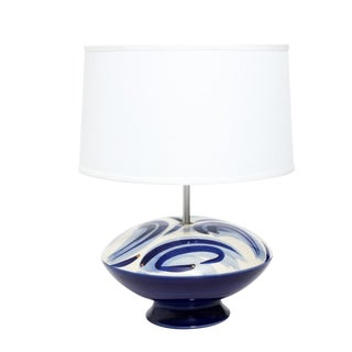 Mid Century Modern Blue and White Glass Lamp C. 1970 For Sale