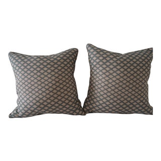 Zak and Fox Blue White Linen Pillows - Pair For Sale