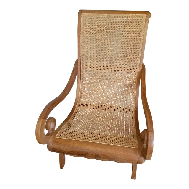 Antique Rattan Plantation Chair For Sale