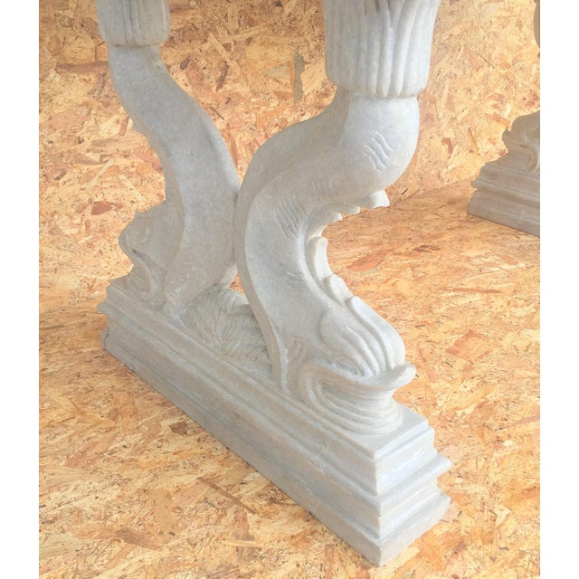 19th Italian Center or Dining Table in Carrara Marble For Sale - Image 10 of 13