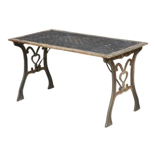 French Antique Lattice Top Garden Table