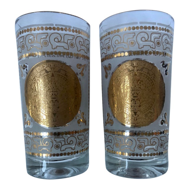Mid 20th Century Hazel Atlas Frosted and Gilt Aztec Highball Cocktail Glasses - a Pair For Sale