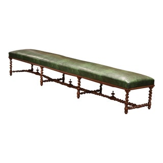 19th Century French Carved Walnut and Leather Eight-Leg Barley Twist Bench For Sale