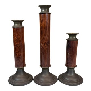 Vintage Rustic Wood & Brass Candlestick Holders - Set of 3 For Sale