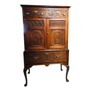 19th Century Carved Oak Highboy Cabinet For Sale