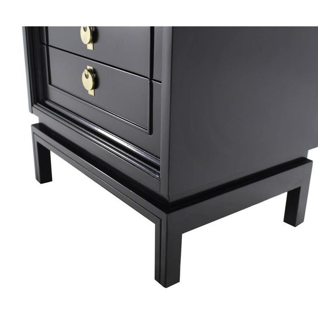Black Mid Century Modern Ebonized Black Lacquer End Tables - a Pair For Sale - Image 8 of 10
