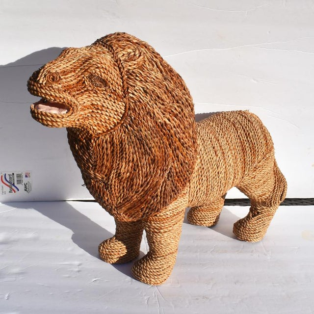 Mid-Century Modern Mario Torres Lopez Style Wicker Raffia Lion Animal For Sale - Image 3 of 11