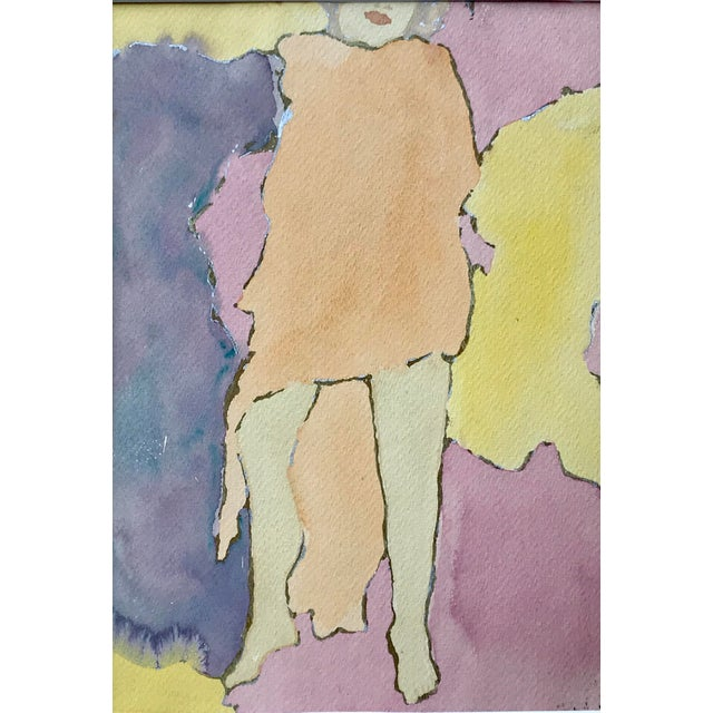 Abstract Mid Century Watercolor Figurative Abstract Signed For Sale - Image 3 of 6
