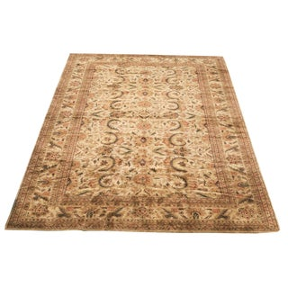 Indo-Kashan Large Brown Neutral Oversize Wool Rug - 15'x25' For Sale
