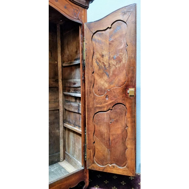 18th Century Louis XV French Armoire De Mariage With Carved Flower Accents Cherry Wood For Sale - Image 10 of 13