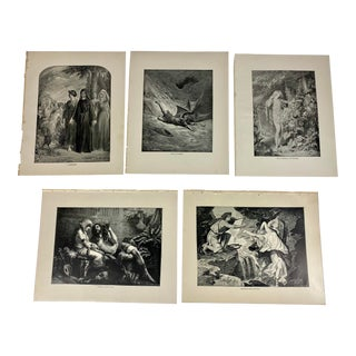 1892 Antique Characters From the Works of John Milton Poetry Prints - Set of 5 For Sale