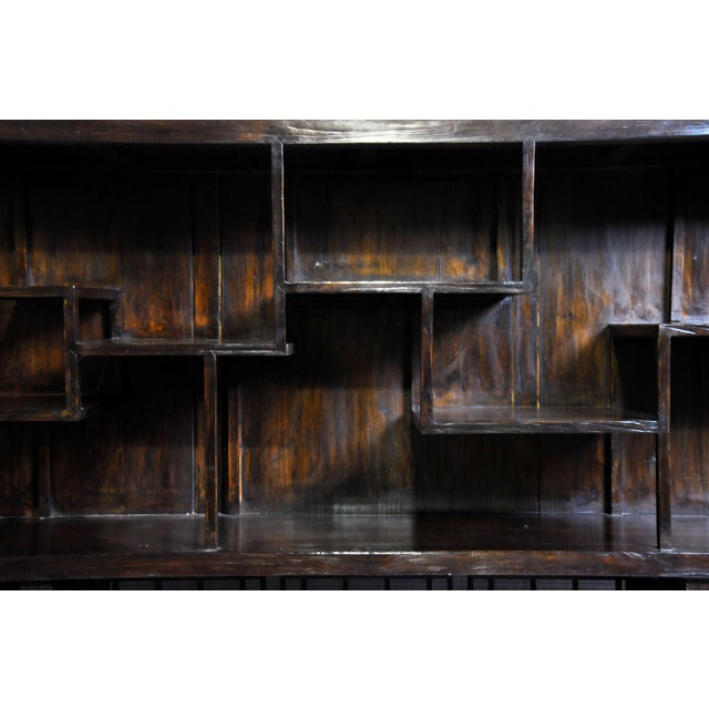 Elm Chinese Lattice Display Cabinet For Sale - Image 7 of 13