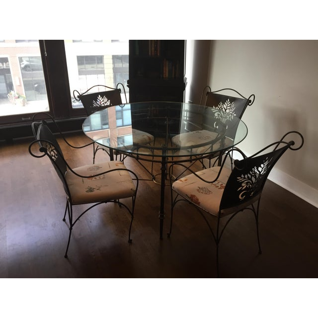 Harden Wrought Iron Glass Top Dining Set - Image 2 of 8